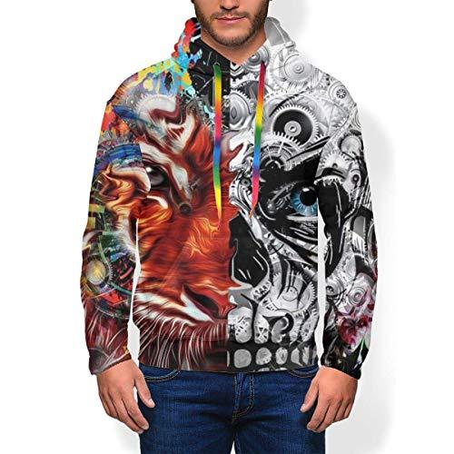 ZSMJ Sudadera con capucha para hombre, diseño de calavera en 3D, diseño abstracto