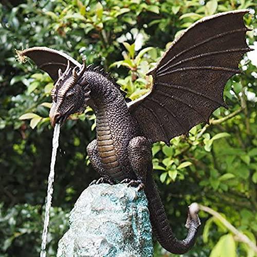 Statue Brunnen Drache Patinierte Bronze Feinguss Massive Bronze Wasserspiel Skulptur für Hausgarten Dekoration
