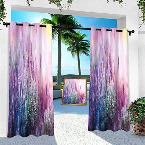 YUAZHOQI Patio Curtains, Fantasy Dreamlike Herbal Meadow Close Up View Magical Nature Theme, 84 inches Long Window Curtain Panel for Patio, Pergola, Porch, Deck(1 Panel)