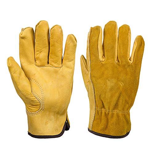 Nicoone Guantes de trabajo 1 par de guantes de trabajo de cuero de vaca guantes de soldadura de trabajo rosa poda guantes de protección