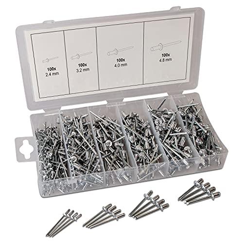 Blindnieten Sortiment Alu Nieten 2.4mm 3.2mm 4mm 4.8mm   6mm lang 400-tlg. Poppnieten   Größen 2.4mm 3.2mm 4mm 4.8mm   Alu/Stahlnieten Set für Blindnietzangen   Sortierbox 2,4-4,8 Alunieten