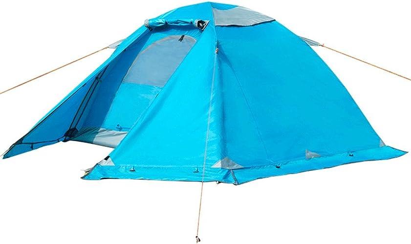 QAR Tente Extérieure Camping Double Double Tige en Aluminium Quatre Saisons Compte Pluie Neige Neige Jupe Randonnée Camping Couple Tente