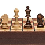 Wegiel Handmade Jowisz Professional Tournament Chess Set - Wooden 16 Inch Folding Board With Felt Base & Hand Carved Chess Pieces - Compartment Inside The Board To Store Each Piece