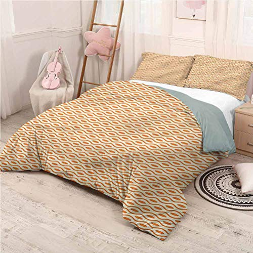 Geometric Bedding 3-Piece Full Bed Sheets Set, Microfiber Sheet Set 3 Piece Bed Sheets Swirled Curved Lines Printed Bedding - Full 80'x90'