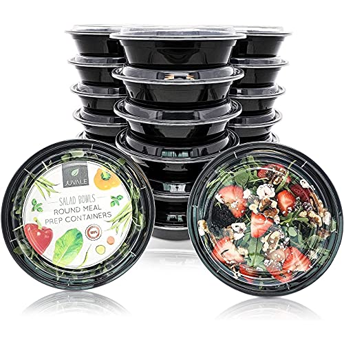 Juvale 20 Pack Round Meal Prep Bento Lunch Box Containers Set - Disposable Plastic Food Storage Salad Bowls, for Microwave/Freezer Use, Portion Control - 22 Ounces