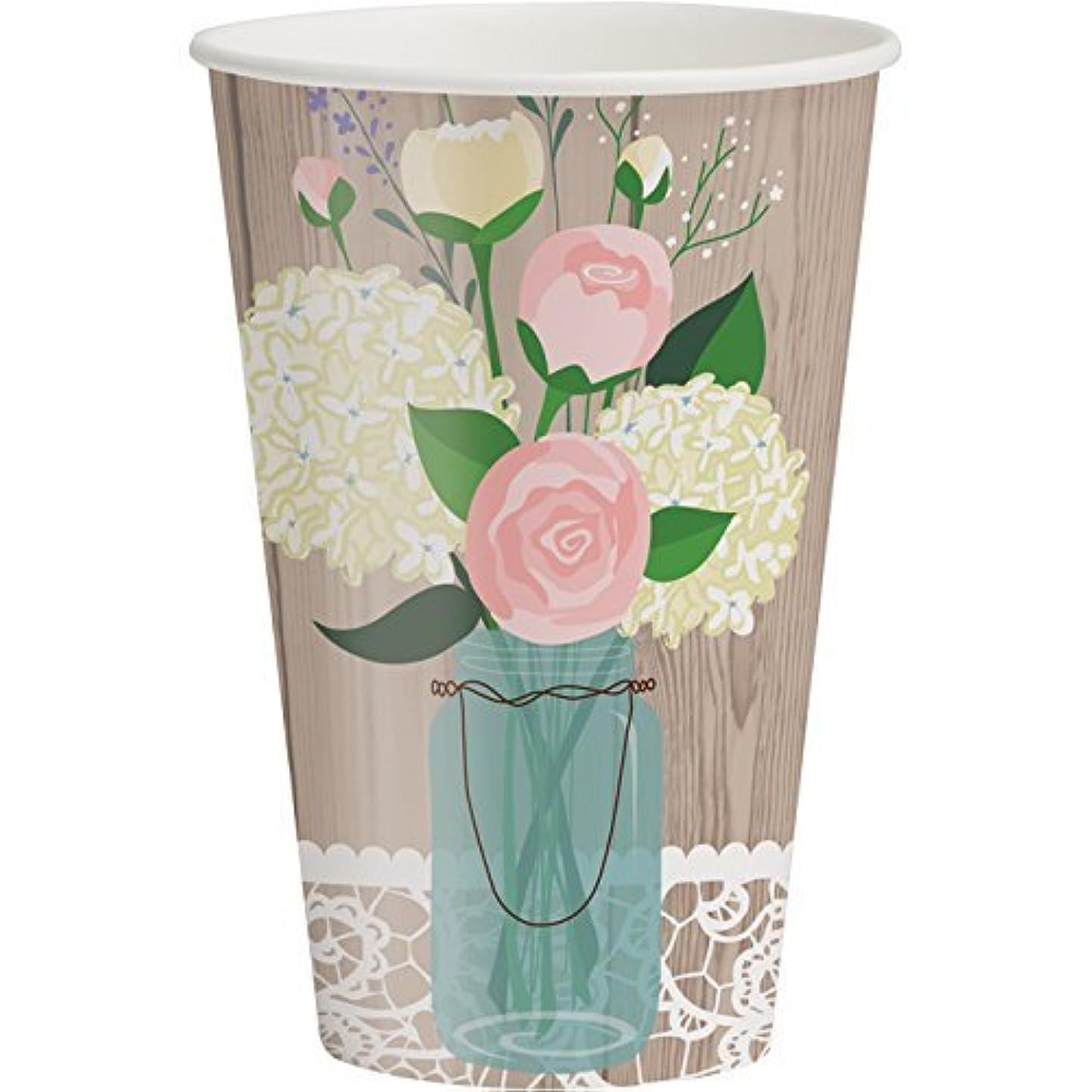ジェーンオースティンボイラー欲望Creative Converting 378706 Rustic Wedding 350ml Paper Cups (8 Pack), Multicolor