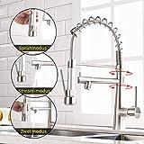 Timaco - Grifo de cocina con muelle en espiral, grifo y ducha extensible, orientable...