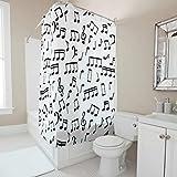 Zhcon Duschvorhang Black Musical Notes Bedruckt Wasserdicht Farbfest Art Vorhang 180x200cm Bad Vorhang Wohnaccessoires
