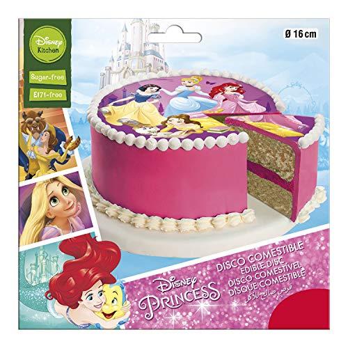 Dekora - Disco Comestible para Decoración de Tartas de Cumpleaños de Princesas de Disney - 16 cm