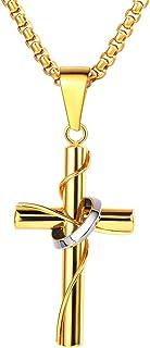 VFDGB Hommes en Acier Inoxydable Cristal J/ésus-Christ Saint Crucifix Croix Pendentif Cha/îne Byzantine Bijoux Anciens Cadeaux