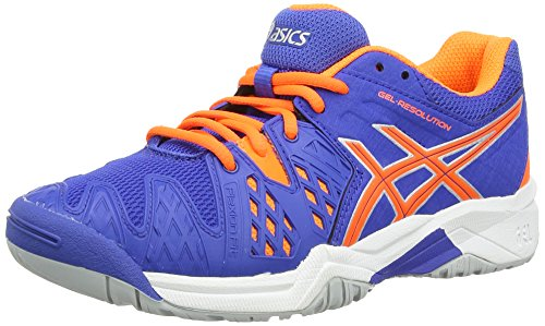 ASICS Gel-Resolution 6 GS, Unisex-Kinder Outdoor Fitnessschuhe, Blau (Blue/Flash Orange/Silver 4230), 36 EU