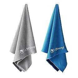 isYoung Lot de 2 Serviette de Refroidissement Instantané 110cm * 30cm Couple de Serviette de Sport pour Gym Yoga Course Camping - Bleue Et Grise