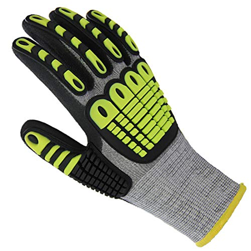 Impact Reducing Work Gloves, Superior Grip Coating Cut Resistant Liner Level 5 Protection for Mechanic Car Tools Garden Construction Multi-Purpose