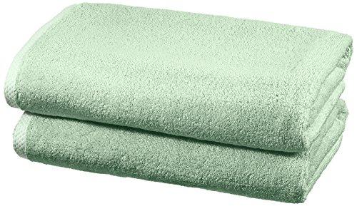 Amazon Basics - Handtuch-Set, schnelltrocknend, 2 Badetücher - Meeresgrün, 100 Prozent Baumwolle