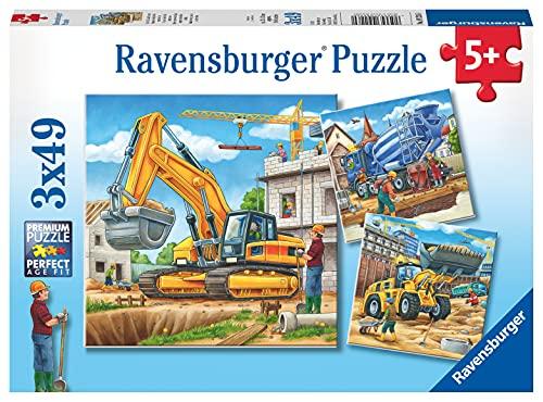 Ravensburger- Veicoli e Costruzioni 3 Puzzle da 49 Pezzi, Multicolore, 09226