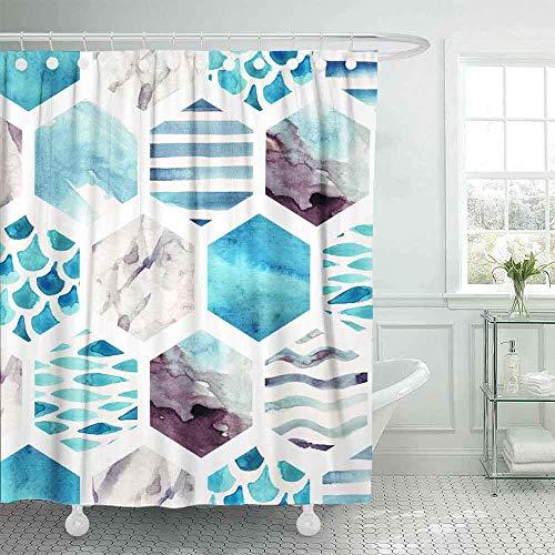 OPDJFH Farbenfroher Duschvorhang, cooler Duschvorhang, abstrakte strukturierte Hexagon-Formen, Muster, Aquarell-Wellen, Streifen, Duschvorhang für Frauen, 183 x 183 cm