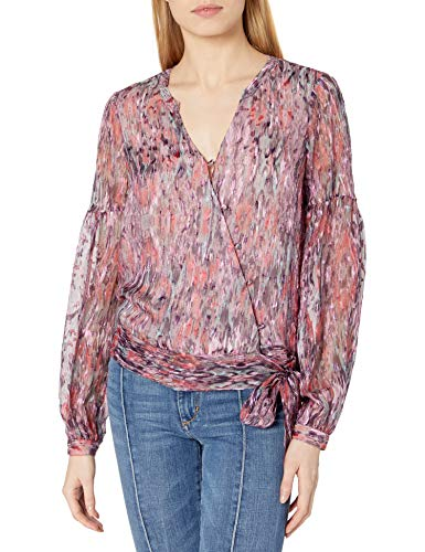 Parker Women's Long Sleeve V-Neck Blouse with Button Detail and Front Tie, Batik Multi, M