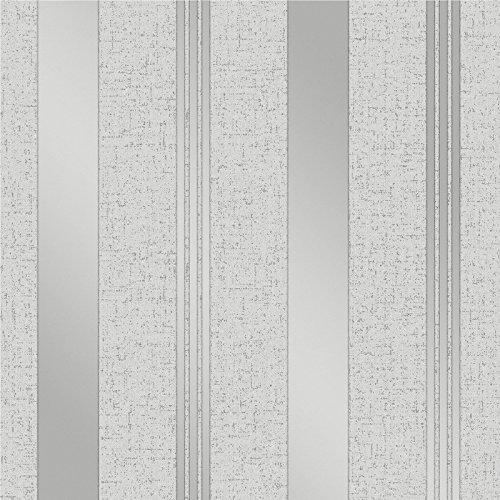 Fine Décor FD41967 - Papel pintado para pared, diseño de rayas, color plateado