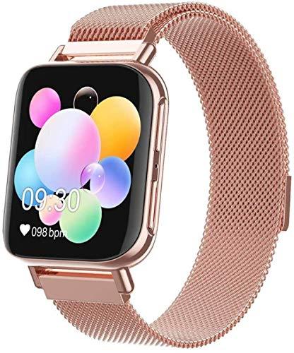 Smart Watch 1 137,2 cm Farbbildschirm Smart Armband Wasserdicht Sport Schlafüberwachung Fitness Tracker Herren und Damen Uhren Exquisite/Gold Mechanik Kopf + Schwarzes Band Rotgold Stahlband
