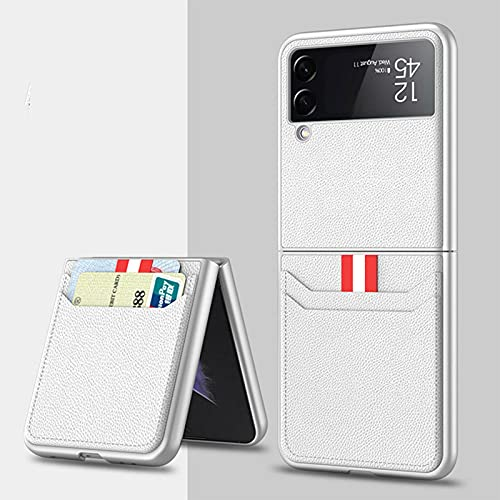 YZDST Leather Wallet Card Holder Phone Case for Samsung Galaxy Z Flip 3 5G, Leather Lightweight Cover Full Protective Cases with Wallet Card