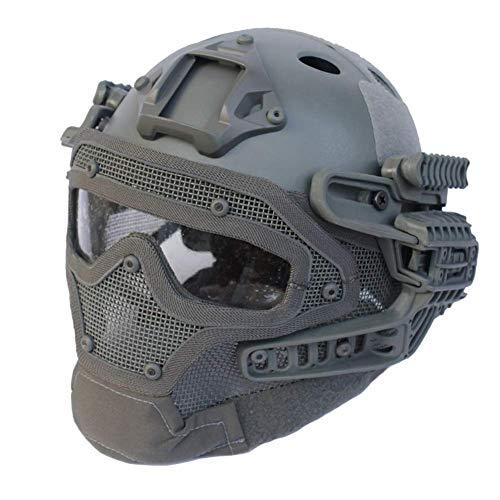 Gowing Unisex-Taktikhelm, Stahldrahtmaske, ABS Leichter Vollgesichts-G4-System- / PJ-Helm mit Abnehmbarer Schutzbrille, für Air Gun Paintball-Jagdschieß-CS-Spiel,B