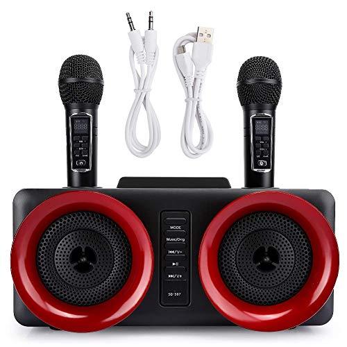 Elikliv Inalámbrico Micrófono, Micrófono Karaoke, Dual Inalámbrico Micrófono Con Altavoz Bluetooth Familia Casa Karaoke Eco Sistema Portátil Canto Máquina Caja Micrófono Karaoke