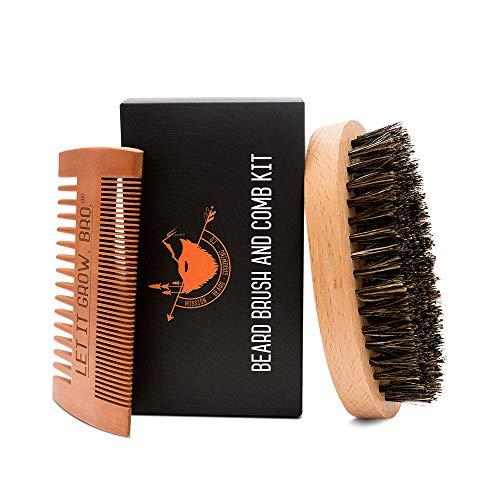 MISSION BEARD GROOMING CO. Spazzola per barba in setola di cinghiale 100% - kit pettine   Esfolia la pelle, doma la barba più indisciplinata - Stimola la crescita della barba