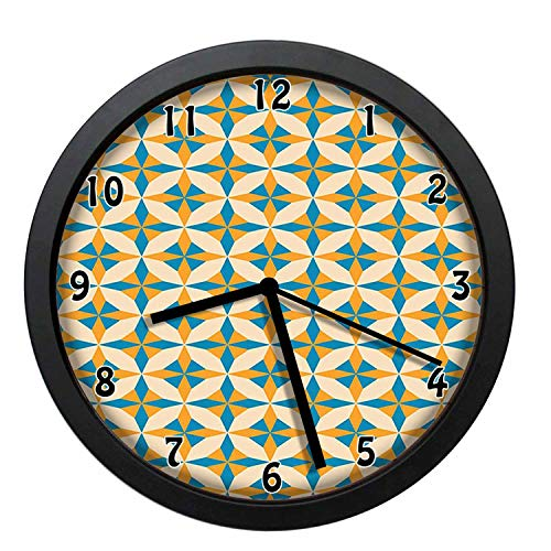 EaYanery Abstract Geometric Origami Pattern Vintage Illustration Retro Style Print Orange Teal Cream Wall Clock Home Decor 12in Non-Ticking Silent Decorative Clocks