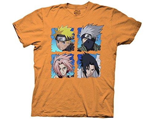 Ripple Junction Naruto Shippuden Characters: Naruto, Kakashi, Sakura and Sasuke Adult T-Shirt XX-Large Orange