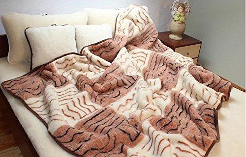 Merino Luxus Decke Wolldecke Wohndecke Tagesdecke, Woolmark Zertifiziert 140x200-160x200-180x200-200x200-220x200 cm (140x200 cm, Würfel)