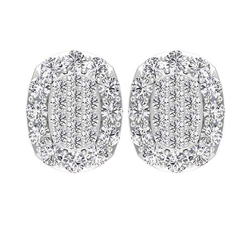 Antiguo 1/2 CT Certificado Diamante Cluster Pendientes Cómodo, Mujer Boda Aniversario Declaración Pendientes para Novia, Pendientes de Oro Vintage Regalos, tornillo hacia atrás