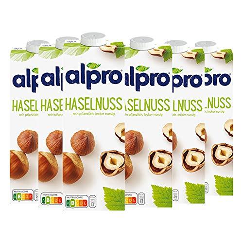 Alpro Soya Drink Haselnuss, 100 % pflanzlich - 1L - 6x