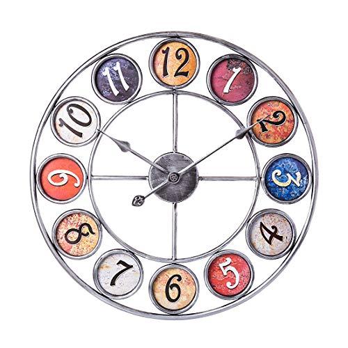 Dittzz 60CM Reloj de Pared Grande, Reloj de Pared Estilo Vintage Reloj...