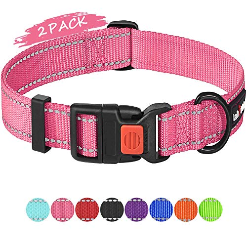 ladoogo 2 Pack Reflective Dog Collar with Safety Buckle Adjustable Nylon Dog Collars for Small Medium Large Dogs