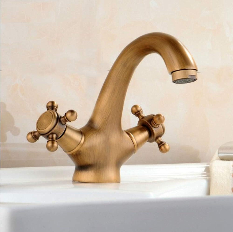 Dwthh Antique Faucet Hot and Cold Water Crane Bronze Brushed Sink Faucet Black Bathroom Swan Vintage Basin Sink Mixer