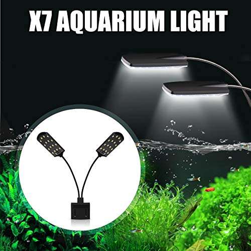 Senzeal X7 Gemini Double Head Aquarium Fish Tank Light US 15W 32 LED Aquarium Planted Clip Lamp 1600LM for 8-15 Inch Fish Tank White LED Lighting