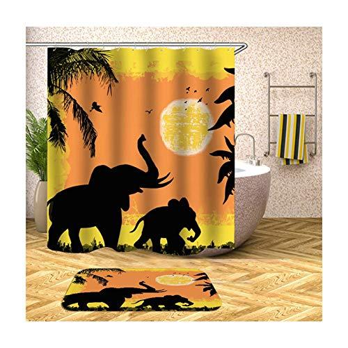 Knbob Polyester Duschvorhang & Badteppich Set 2 Elefanten Bad Vorhang Badvorleger 150x200CM mit 12 Duschvorhangringen