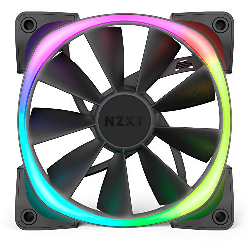 NZXT AER RGB 2 - HF-28120-B1 - 120mm - Advanced Lighting Customizations - Winglet Tips - Fluid Dynamic Bearing - LED RGB PWM Fan for Hue 2 - Single (HUE2 Lighting Controller Not Included) , Black