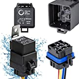 ONLINE LED STORE 1 Pack 5-Pin 12V Bosch Style Waterproof Relay Kit [Harness Socket] [12 AWG Hot Wires] [SPDT] [30/40 Amp] 12 Volt Automotive Marine Relays for Boats Auto Fan Cars