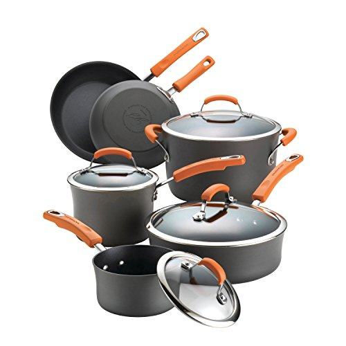 Rachael Ray 87375 Brights Hard-Anodized Aluminum Nonstick Cookware Set with Glass Lids, 10-Piece Pot and Pan Set, Gray with Orange Handles