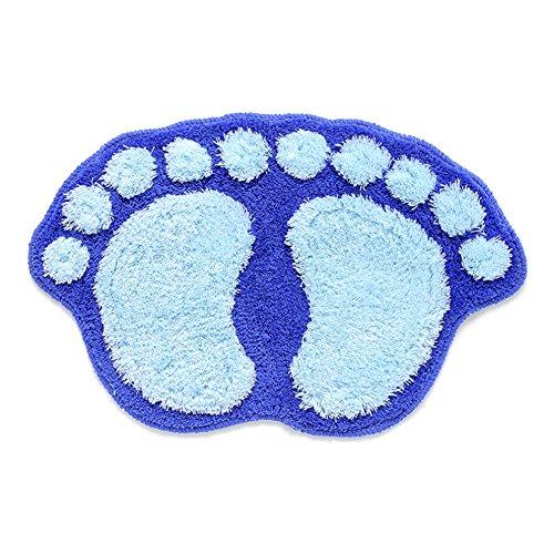 Ndier Felpudo Antideslizante de baño, Alfombrilla a Forma de pies retienen el Agua para Camera de Cama, Cocina, Pasillo, Entrada casa, Azul