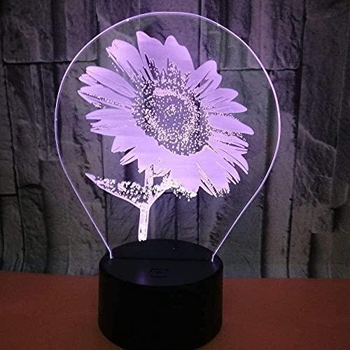nakw88 Lámpara Escritorio Girasol luz LED Degradado Colorido 3D estéreo táctil Control Remoto USB luz de Noche mesita de Noche bellamente Decorada Regalo de Cumplea?os 20 * 13 cm
