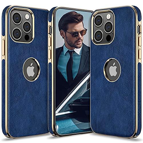 LOHASIC Case for iPhone 13 Pro Men, Women Phone Cover PU Leather Elegant Luxury Vintage Designer Slim Shockproof Protective Soft Grip Non-Slip Anti-Scratch TPU Bumper 6.1 Inch 2021 I-13Pro Blue