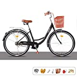 Single Speed ​​24/26 Zoll Commuter City Rennrad | Rahmen Urban Fixed Gear Fahrrad Retro Vintage Adult Ladies Men Unisex