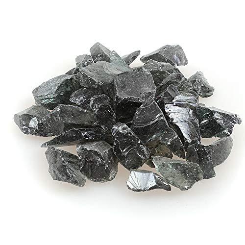 Reflektierendes Feuerglas-Kies, Feuersteine, Feuersteine, Steine, Steine, Perlen, Chips für Feuerschale, Aquarium, Garten, 1–2 cm, 540 g grau