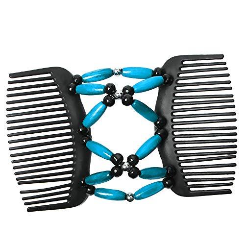 Elastische und doppelte Haarspange Haarkamm Schmuck Haarklammer Haarspange Holzperlen Clip Hochsteckfrisur DIY Hair Styling Werkzeug - Blau