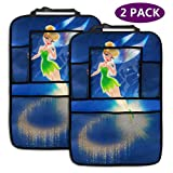 Backseat Car Organizer Kick Mats Tinkerbell Flying Car Seat Back Protectors Vehicles Travel Accessories For Kids Toy Bottle Drink (2 Pack)