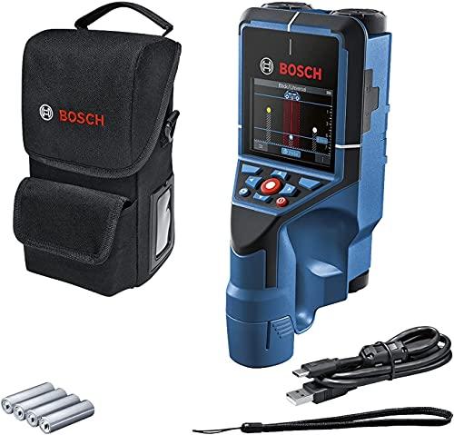 Bosch Professional Detector D-tect 200 C (detección de cables con y sin tensión, tuberías de metal y plástico, pernos de madera y cavidades, cable USB-C™, 4 pilas AA, bolsa protectora)