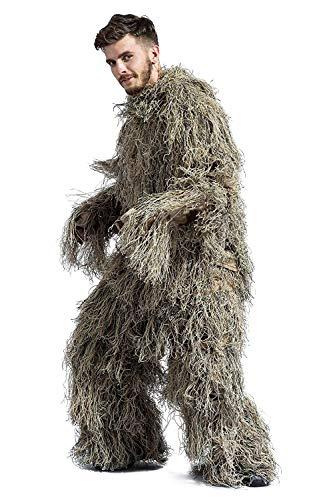 Traje Ghillie Traje de Camuflaje ejército Francotirador Ropa y Pantalones Militares adecuados para la Caza en la Selva, Tiro, Airsoft, fotografía de Vida Silvestre, Halloween
