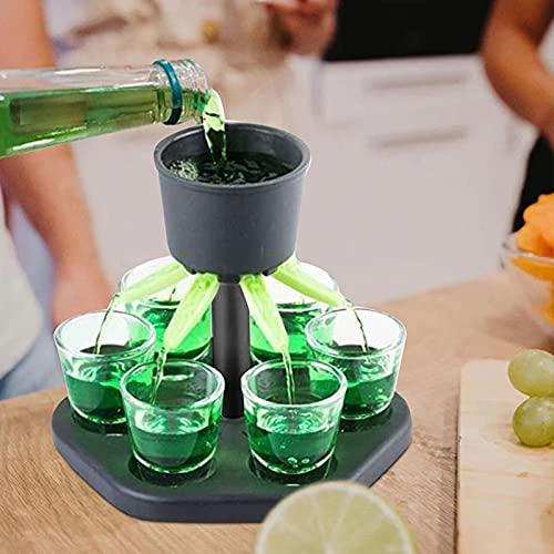 HUANGDAN Dispensador de Vasos de chupito y Soporte Dispensador de Licor de Vino de Cerveza de Whisky Dispensador de chupitos de Mesa giratoria para Accesorios de Bar de Fiesta Llenado de líquidos